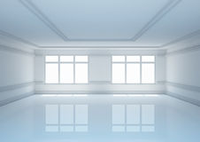 Empty wide room with classic molding Royalty Free Stock Images