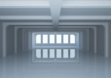 Empty wide room with columns Royalty Free Stock Images