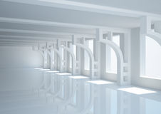 Empty wide room with decorative columns Stock Image
