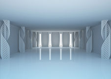 Empty wide room with decorative columns Royalty Free Stock Photo