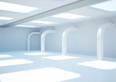 Empty wide room with decorative columns Stock Images