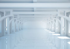 Empty wide room with decorative columns and balks Royalty Free Stock Images