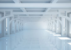 Empty wide room with decorative columns and balks Royalty Free Stock Image