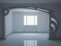 Empty wide room with decorative partition Stock Image