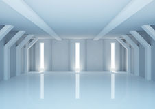 Empty wide room with futuristic columns Royalty Free Stock Photo