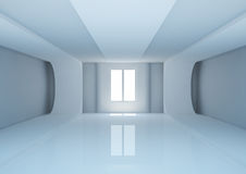 Empty wide room with futuristic construction Stock Photography
