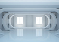 Empty wide room with futuristic construction Stock Image