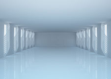 Empty wide room with futuristic construction Royalty Free Stock Images