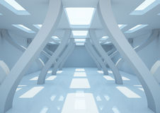 Empty wide room with futuristic pillars Royalty Free Stock Photos