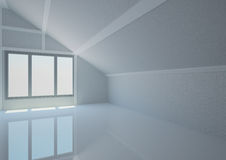 Empty wide room in the loft Royalty Free Stock Image