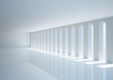 Empty wide room with narrow openings Stock Image