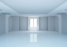 Empty wide room with niches and columns Stock Photo