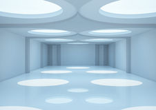 Empty wide room with round openings on the ceiling Royalty Free Stock Photography