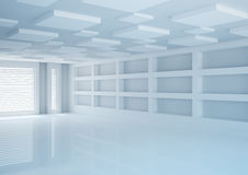 Empty wide room with shelves, shop interior Royalty Free Stock Photography