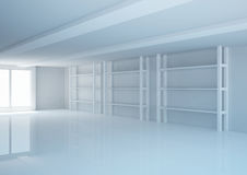 Empty wide room with shelves, shop interior Stock Photos