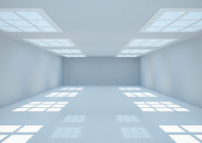 Empty wide room with square windows on the ceiling Royalty Free Stock Photo
