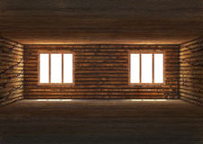 Empty wide room, wooden interior Stock Image