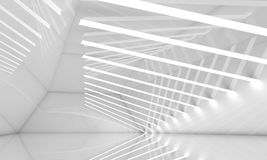 Empty wide white interior, 3 d Royalty Free Stock Photo