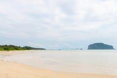 Empty wild sandy beach with limestone karst islands Stock Photo