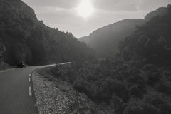 Empty winding mountain road in Provence. France Royalty Free Stock Images