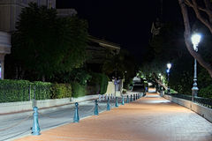 Empty winding street that leads to the port of Monaco. Royalty Free Stock Photo