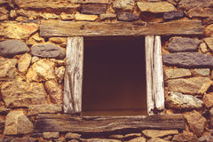 Empty window with old wooden frame Stock Photo