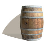 Empty Wine Barrel. Isolated photographic image of an empty wine barrel standing near a wall. The shadow is also captured in the image so that it can be Stock Photography