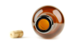 Empty wine bottle with cork Royalty Free Stock Photos