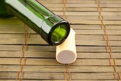 Empty wine bottle with cork Stock Image