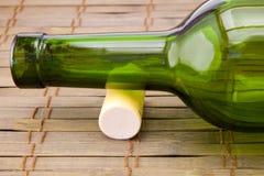 Empty wine bottle with cork Stock Photo