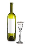 Empty wine bottle and glass Stock Photos