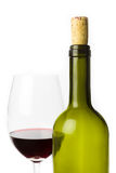Empty wine bottle with glass Royalty Free Stock Photography