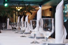 Table setting for a banquet or dinner party. stock photography