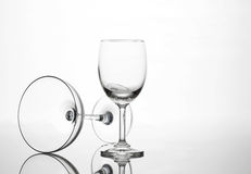 Empty wine glass and cocktail glass art composition creative. Background royalty free stock photos