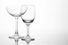 Empty wine glass and cocktail glass art composition creative. Background stock photos