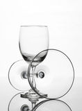 Empty wine glass and cocktail glass art composition creative. Background stock image