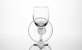 Empty wine glass and cocktail glass art composition creative Stock Images