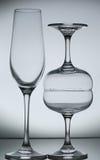 Empty wine glass  on gray Stock Image