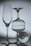 Empty wine glass  on gray Royalty Free Stock Photo