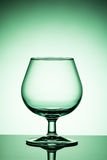 Empty wine glass on a green background stock image