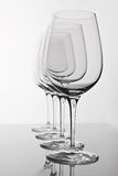 Empty wine glass with reflection on white Stock Photo