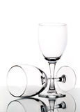 Empty wine glasses. With reflection Royalty Free Stock Photos