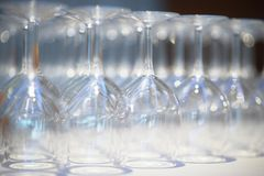 Empty wine glasses Stock Photo