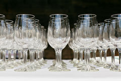 Empty wine glasses Stock Photos