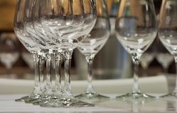 Empty wine glasses closeup Royalty Free Stock Image