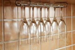 Empty wine glasses Stock Photos