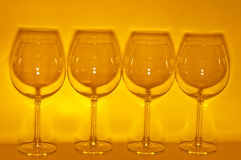 4 Empty wine glasses making shadow. 1 Stock Photo