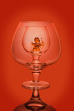 Empty wine glasses on a red background Royalty Free Stock Photos