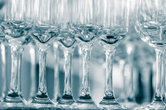 Empty wine glasses in a restaurant Royalty Free Stock Photo