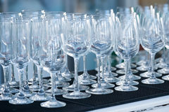 Empty wine glasses in a restaurant Stock Images